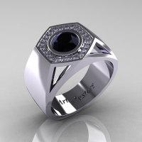 Gentlemens Modern 950 Platinum 1.0 Carat Black Diamond Celebrity Engagement Ring MR161-PLATDBD-1