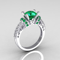 Modern Armenian Classic 14K White Gold 1.5 Carat Emerald Diamond Solitaire Wedding Ring R137-14WGDEM-1