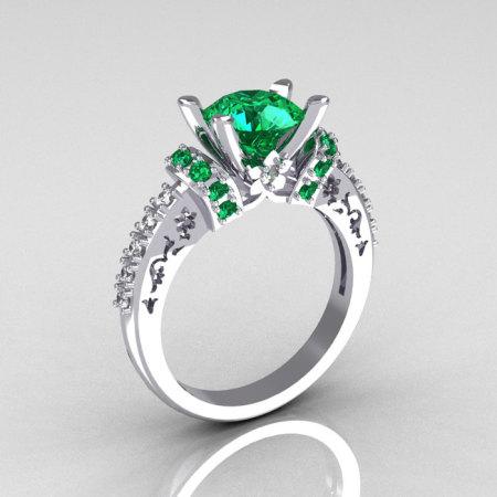 Modern Armenian Classic 14K White Gold 1.5 Carat Emerald Diamond Solitaire Wedding Ring R137-14WGDEM-1