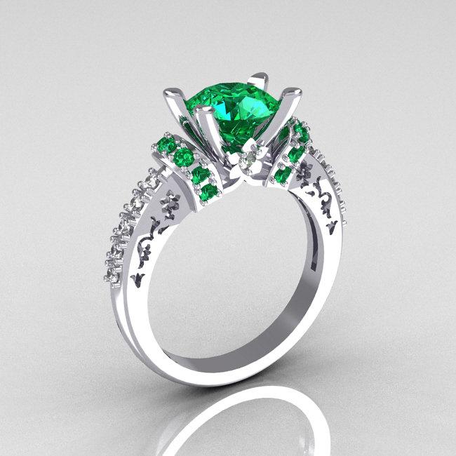 modern armenian classic 14k white gold 1 5 carat emerald