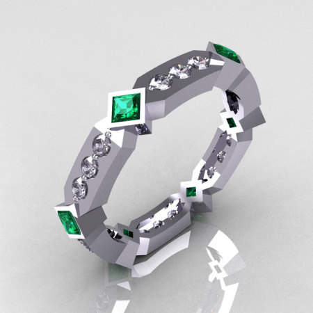 Classic 14K White Gold .36 ctw Diamond .48 ctw Emerald Eternity Ring Y256-14KWGDEM-1