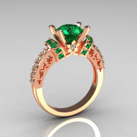 Modern Armenian Classic 14K Rose Gold 1.5 Carat Emerald Diamond Solitaire Wedding Ring R137-14RGDEM-1