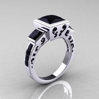 Classic Bridal 10K White Gold 2.5 Carat Square Three Stone Princess Black Diamond Ring R315-10WGBD-1