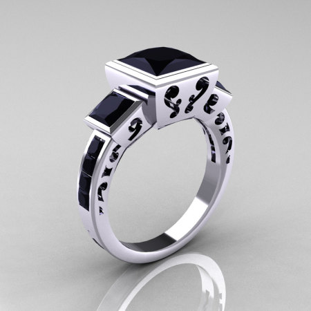 Classic Bridal 10K White Gold 2.5 Carat Square Three Stone Princess Black Diamond Ring R315-10WGBD-1