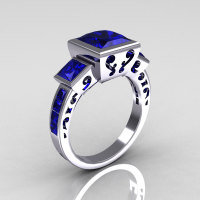 Classic Bridal 18K White Gold 2.5 Carat Square Three Stone Princess Blue Sapphire Ring R315-18WGBS-1