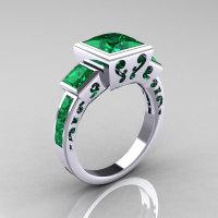 Classic Bridal 14K White Gold 2.5 Carat Square Three Stone Princess Emerald Ring R315-14WGEM-1