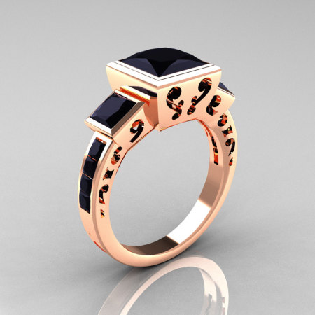 Classic Bridal 14K Rose Gold 2.5 Carat Square Three Stone Princess Black Diamond Ring R315-14RGBD-1