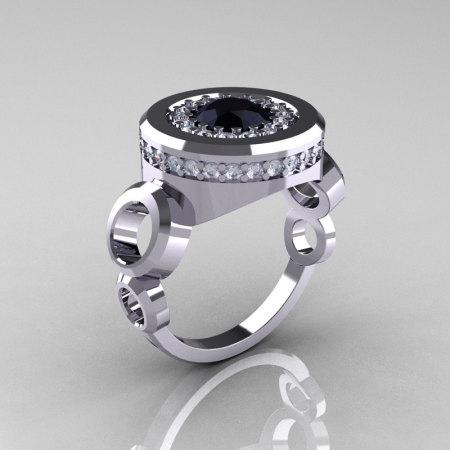 Modern 14K White Gold 1.0 Carat Black Diamond Designer Engagement Ring R163-14KWGDBD-1