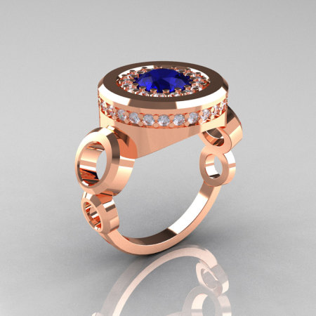 Modern 14K Rose Gold 1.0 Carat Blue Sapphire Diamond Designer Engagement Ring R163-14KRGDBS-1