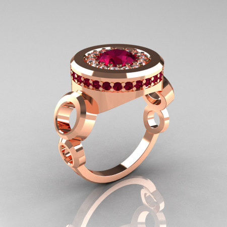 Modern 18K Rose Gold 1.0 Carat Garnet Diamond Designer Engagement Ring R163-18KRGDGG-1
