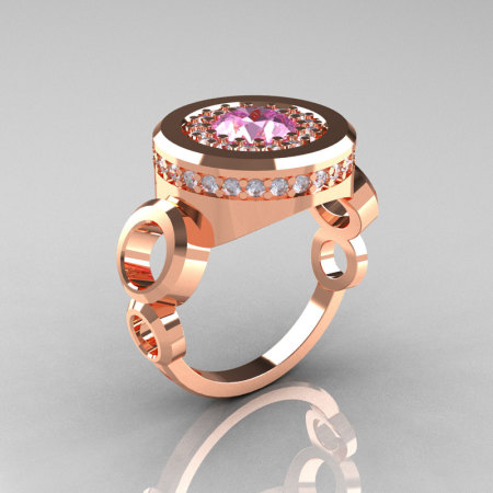 Modern 10K Rose Gold 1.0 Carat Light Pink Topaz Diamond Designer Engagement Ring R163-10KRGDLPT-1