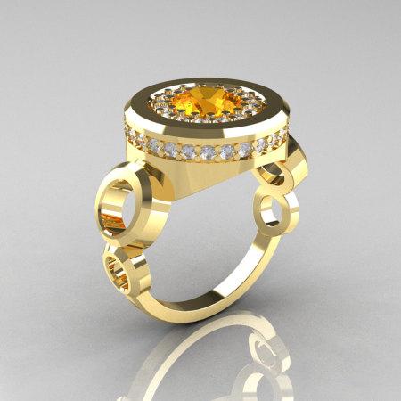 Modern 10K Yellow Gold 1.0 Carat Citrine Diamond Designer Engagement Ring R163-10KYGDCI-1