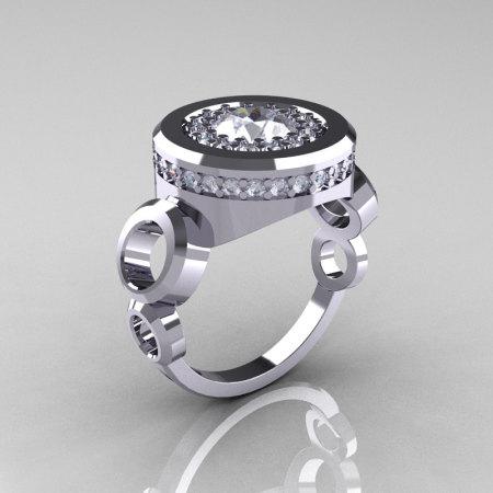 Modern 950 Platinum 1.0 Carat CZ Diamond Designer Engagement Ring R163-PLATGDCZ-1