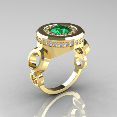Modern 10K Yellow Gold 1.0 Carat Emerald Diamond Designer Engagement Ring R163-10KYGDEM-1