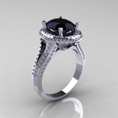 French Bridal 14K White Gold 2.5 Carat Oval Black Diamond Cluster Engagement Ring R164-14KWGDBD-1