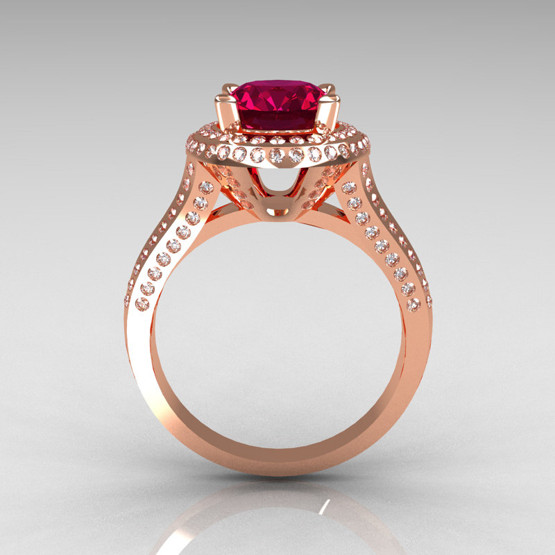 French Bridal 18k Rose Gold 2 5 Carat Oval Burgundy Garnet