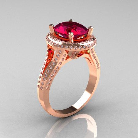 French Bridal 18K Rose Gold 2.5 Carat Oval Burgundy Garnet Diamond Cluster Engagement Ring R164-18KRGDBG-1