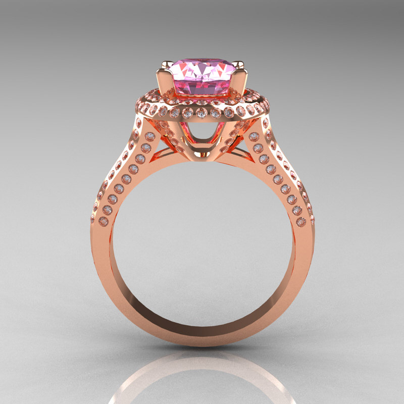 French Bridal 10k Rose Gold 2 5 Carat Oval Light Pink