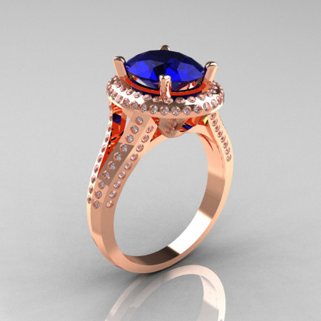 French Bridal 18K Rose Gold 2.5 Carat Oval Blue Sapphire Diamond Cluster Engagement Ring R164-18KRGDBS-1