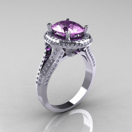 French Bridal 14K White Gold 2.5 Carat Oval Lilac Amethyst Diamond Cluster Engagement Ring R164-14KWGDLA-1