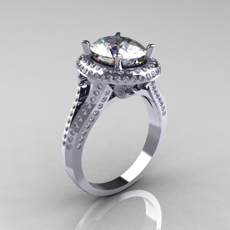 French Bridal 10K White Gold 2.5 Carat Oval White Sapphire Diamond Cluster Engagement Ring R164-10KWGDWS-1