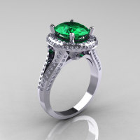 French Bridal 14K White Gold 2.5 Carat Oval Emerald Diamond Cluster Engagement Ring R164-14KWGDEM-1