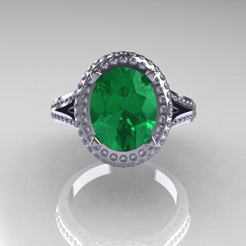 French Bridal 14k White Gold 2 5 Carat Oval Emerald