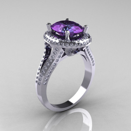 French Bridal 18K White Gold 2.5 Carat Oval Alexandrite Diamond Cluster Engagement Ring R164-18KWGDAL-1