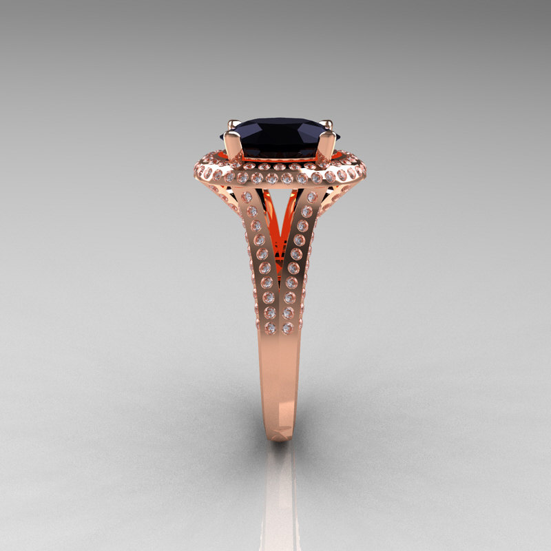 French Bridal 14K Rose Gold 2 5 Carat Oval Black Diamond Cluster Engagement R