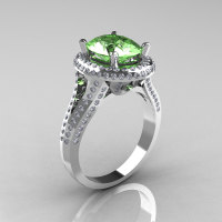 French Bridal 10K White Gold 2.5 Carat Oval Green Topaz Diamond Cluster Engagement Ring R164-10KWGDGT-1