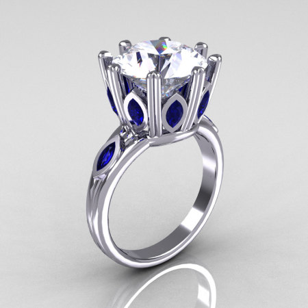 Classic 10K White Gold Marquise Blue Sapphire 5.0 CT Round Zirconia Solitaire Ring R160-10KWGCZBS-1