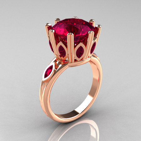 Classic 14K Rose Gold Marquise and 5.0 CT Round  Burgundy Garnet Solitaire Ring R160-14KRGBG-1
