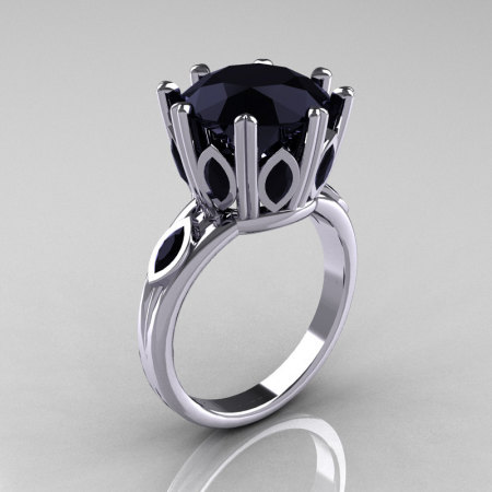 Classic 10K White Gold Marquise and 5.0 CT Round Black Diamond Solitaire Ring R160-10KWGBDD-1