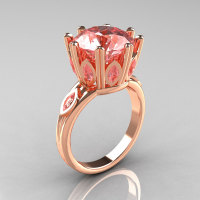 Classic 14K Rose Gold Marquise and 5.0 CT Round  Morganite Solitaire Ring R160-14KRGMO-1