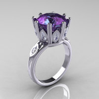 Classic 950 Platinum Marquise White Sapphire 4.0 CT Round Chrysoberyl Alexandrite Solitaire Ring R160-PLATWSAL-1