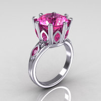 Classic 10K White Gold Marquise and 5.0 CT Round Pink Sapphire Solitaire Ring R160-10KWGPSS-1