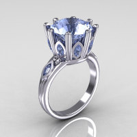 Classic 14K White Gold Marquise and 5.0 CT Round Blue Topaz Solitaire Ring R160-14KWGBTT-1