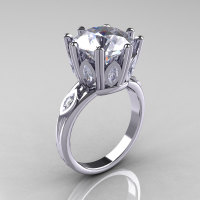 Classic 14K White Gold Marquise and 5.0 CT Round Zirconia Solitaire Ring R160-14KWGCZZ-1