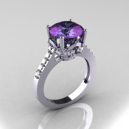 Classic 10K White Gold 3.0 Carat Alexandrite Pave Diamond Solitaire Wedding Ring R301-10WGDAL-1