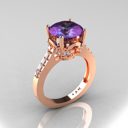 Classic 14K Rose Gold 3.0 Carat Alexandrite Diamond Solitaire Wedding Ring R301-14KRGDAL-1