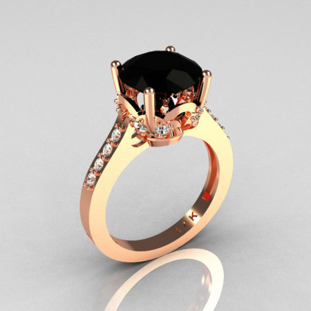Classic 14K Rose Gold 3.0 Carat Black Diamond Solitaire Wedding Ring R301-14KRGDBD-1