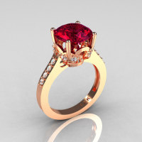 Classic 14K Rose Gold 3.0 Carat Burgundy Garnet Diamond Solitaire Wedding Ring R301-14KRGDBG-1