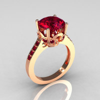 Classic 14K Rose Gold 3.0 Carat Burgundy Garnet Solitaire Wedding Ring R301-14KRGBG-1