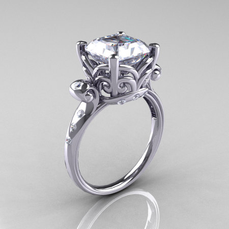 Modern Antique 14K White Gold 2.6 Carat Emerald Cut White Sapphire Diamond Solitaire Ring R166-14WGDWS-1