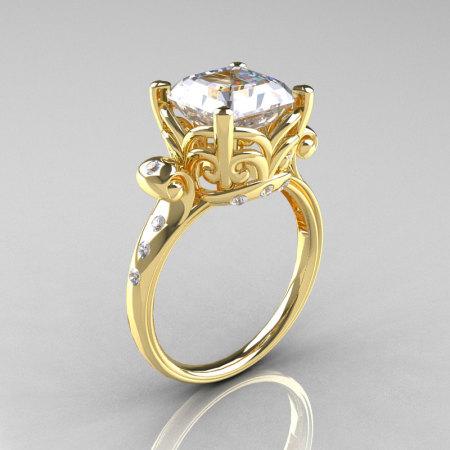 Modern Antique 18K Yellow Gold 2.6 Carat Emerald Cut Zirconia Diamond Solitaire Ring R166-18YGDCZ-1