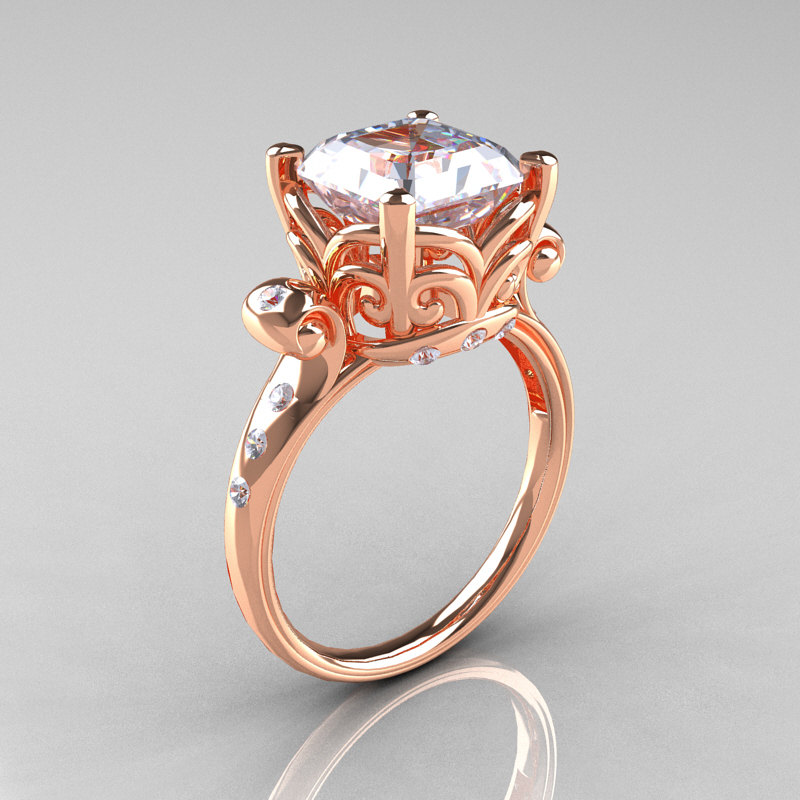 Modern Antique 14K Rose Gold 2 6 Carat Emerald Cut White Sapphire