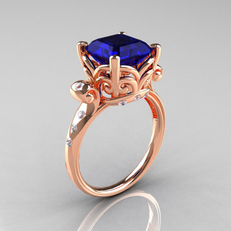 Modern Antique 14K Rose Gold 2.6 Carat Emerald Cut Blue Sapphire Diamond Solitaire Ring R166-14RGDBS-1
