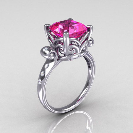 Modern Antique 14K White Gold 2.6 Carat Emerald Cut Pink Sapphire Diamond Solitaire Ring R166-14WGDPS-1