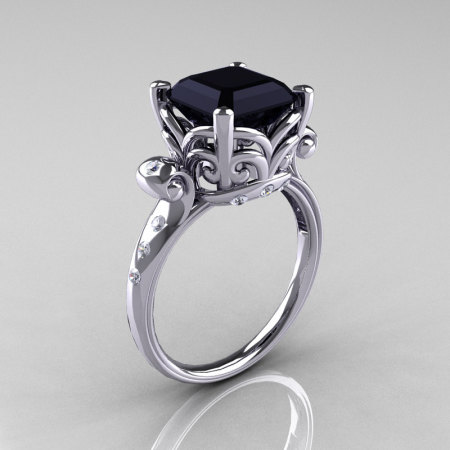 Modern Antique 10K White Gold 2.6 Carat Emerald Cut Black Diamond Solitaire Ring R166-10WGDBD-1