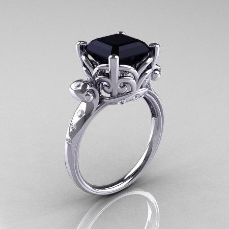 Modern Antique 10K White Gold 2.6 Carat Emerald Cut Black Diamond Solitaire Ring R166-10WGDBD-1